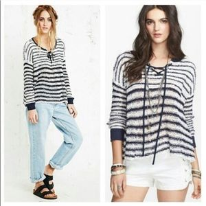Free People Lace-Up Striped Open Knit Sweater Top